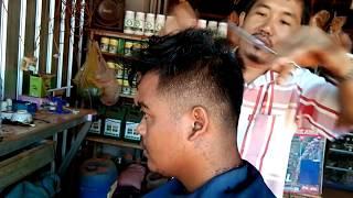 របៀបកាត់សក់បុរស , how to haircut for men in combodia , khmer barber
