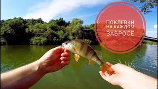 ПОКЛЁВКИ НА КАЖДОМ ЗАБРОСЕ Рыбалка 1 5 часа возле дома Ловля ОКУНЯ И СУДАКА на микроджиг