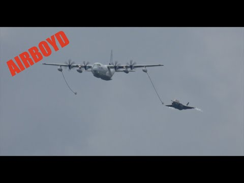 F-35 & C-130 Flyby Farnborough Airshow