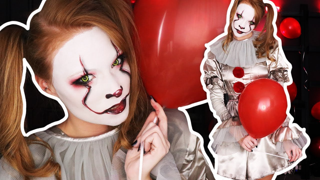 """IT"" Pennywise Halloween Beauty Makeup Tutorial - YouTube"