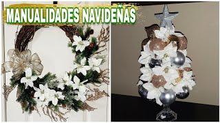 2 Ideas para decorar en Navidad 2019 | Corona NAVIDEÑA facil y economica | arbol de navidad glam 🎄