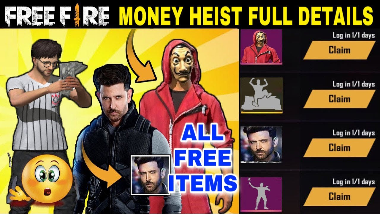 Free fire money heist event all events and free items full details tricks tamil - Garena Free Fire