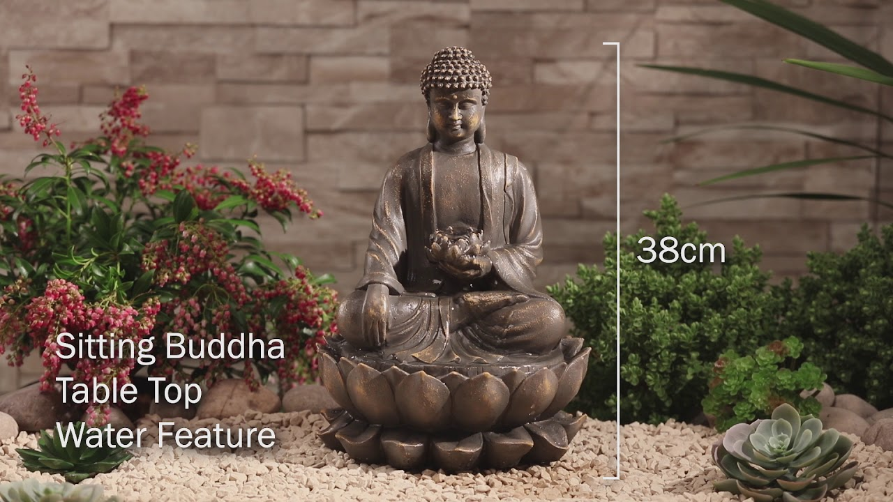 Serenity Sitting Buddha Water Feature Youtube
