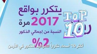 أكثر 10 أسماء تكراراً للمواليد الذكور في الأردن - Top 10