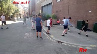 Playing football in the town centre