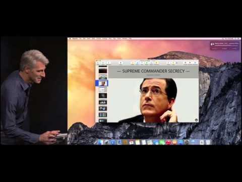 Tripling Down on Secrecy: Craig Federighi en Stephen Colbert over geheimen bij Apple