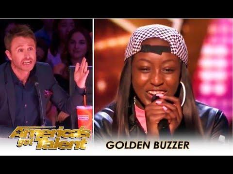 Flau'jae: 14-Year-Old Rap Star Gets GOLDEN BUZZER By Chris Hardwick | America's Got Talent 2018