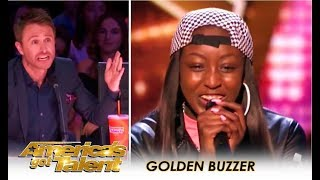 Flau'jae: 14-Year-Old Rap Star Gets GOLDEN BUZZER By Chris Hardwick | America's Got Talent 2018