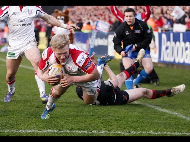 Stuart Olding finishes good backline move with try - Ulster v Dragons 12 April 2013