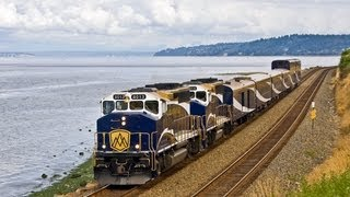 Rocky Mountaineer Excursion train, CP Crude Oil train at Edmonds, WA 08/24/2013