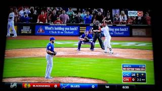 Fan celebrates Arrieta's no hitter on the mound with Cubs