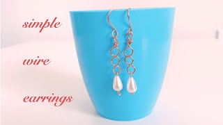 simple earrings making/wire wrapped earrings/easy diy earrings for daily use with in 5 minutes