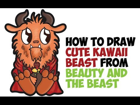 How To Draw Beast From Beauty And The Cute Chibi Kawaii Easy Step By Drawing For Kids