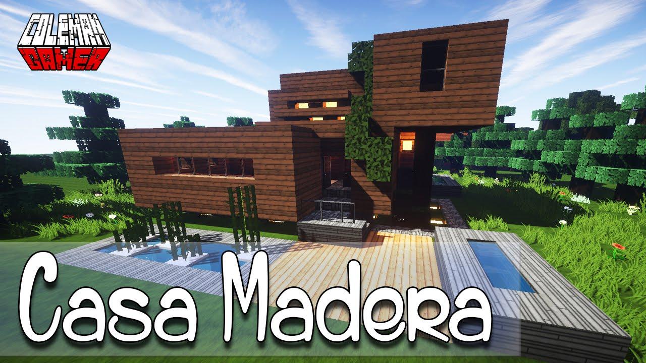 Minecraft como hacer una casa de madera moderna youtube for Casas modernas grandes minecraft