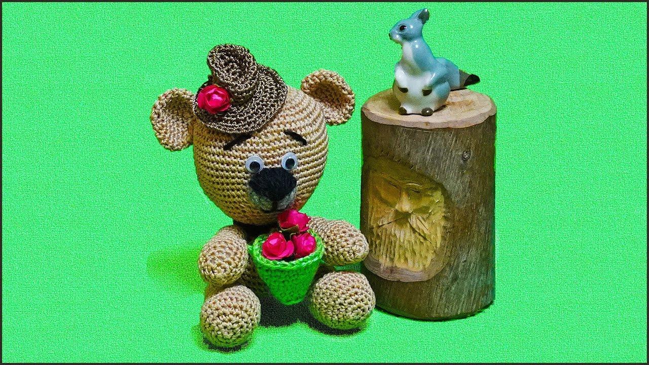вязание мишки крючком в шляпе мастер класс вязания игрушки крючком часть 1 Crochet Teddy Bear P1