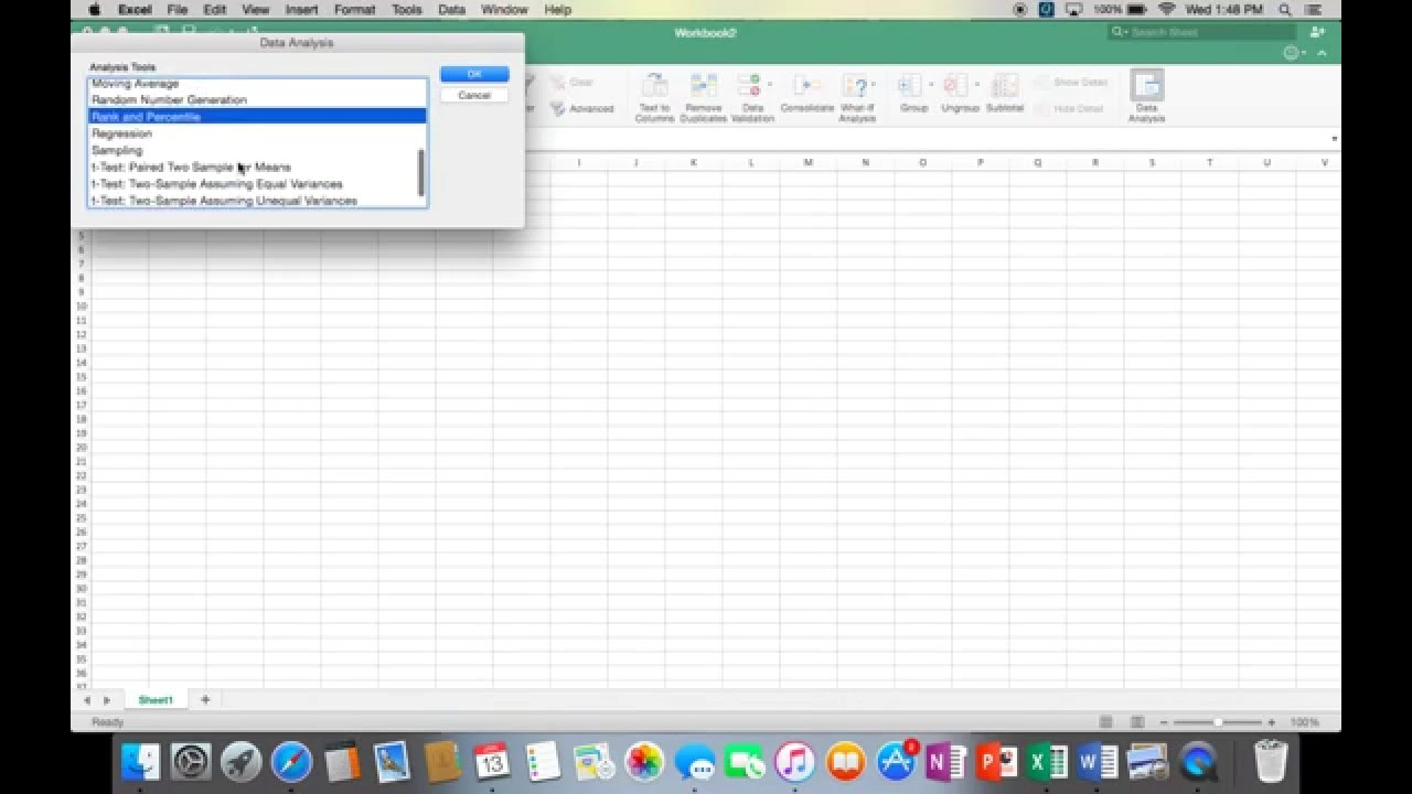 how to get data analysis in excel mac  Installing Excel Toolpak (Data Analysis) on Mac - YouTube
