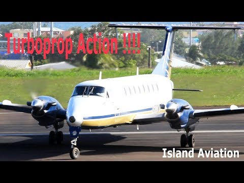 Lovely Turboprops in action !!! Beech 1900, Saab 340, Twin Otter, ATR 42-600...@ St Kitts Airport