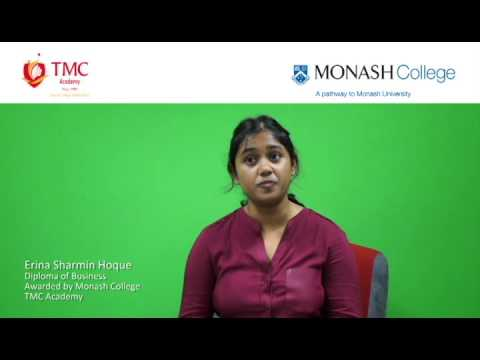 Erina's testimonial, Diploma of Business, awarded by Monash College at TMC Academy