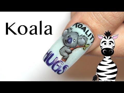3D Koala Koality Hugs Acrylic Nail Art Tutorial thumbnail