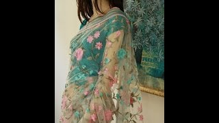 White net saree with baby pink and teal scrolls https://www.facebook.com/ShamaBoutique Thumbnail