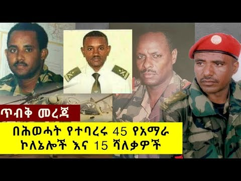 EXPOSED: 45 Amhara Colonels fired by TPLF from YouTube · Duration:  12 minutes 2 seconds