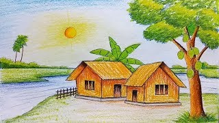 landscape draw easy simple pencil beginners