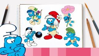 Como desenhar o Smurf-magnólia e as amigas dela • Os Smurfs
