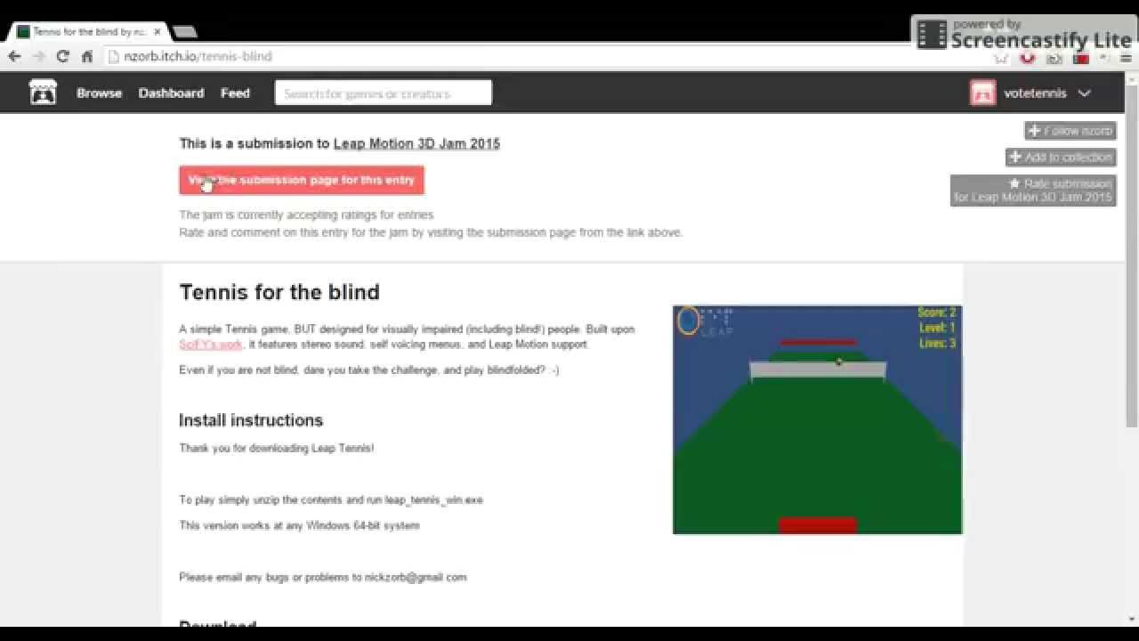 How to rate Tennis for the blind @LeapMotion #3DJAm
