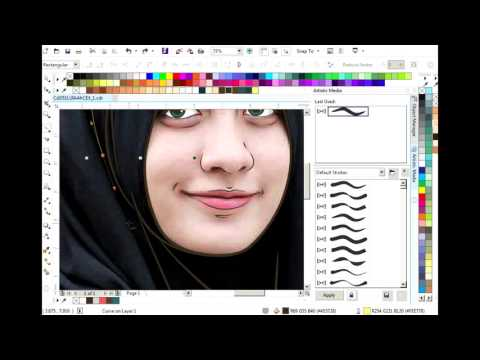 Membuat Vector Art Cartoon | Menggunakan Artistic Media | CorelDrawx7 ( Normal Speed )