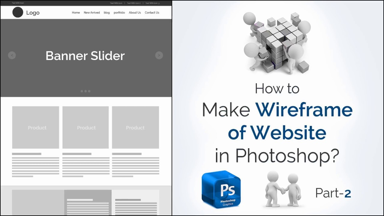 How to Make Wireframe of Website in Photoshop? | How to Make Wireframe Website Part-2