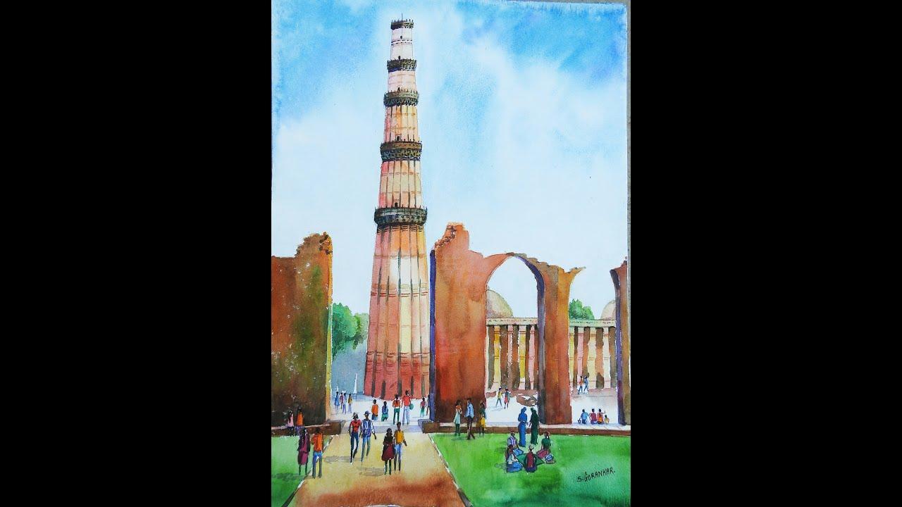 Qutub minar delhi landscape drawing