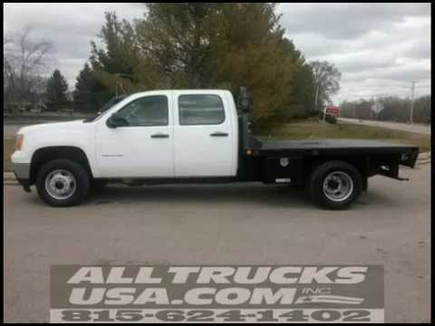 2011 gmc 3500hd 4x4 9 39 flatbed work truck used in michigan for sale 815 624 1402 youtube. Black Bedroom Furniture Sets. Home Design Ideas