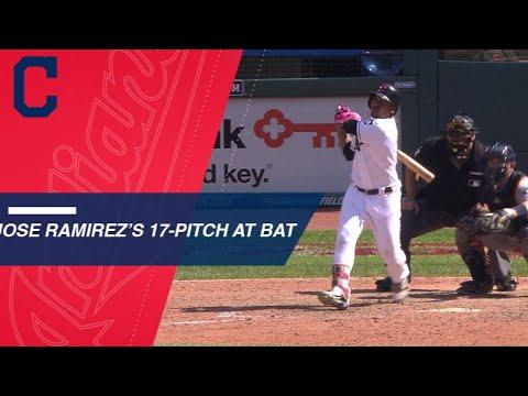 Jose Ramirez battles 17 pitches to get a double