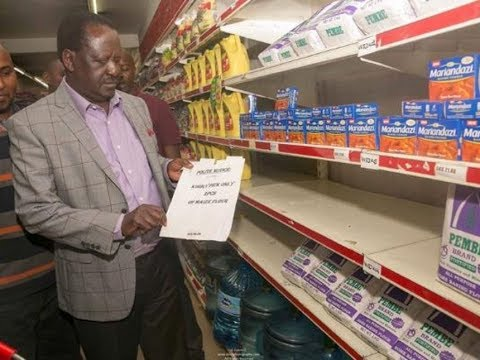 Raila makes visit to Uchumi supermarket, finds no unga