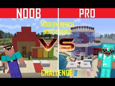 Minecraft battle: NOOB VS PRO: Modern Beach house Build - Challenge / Animation