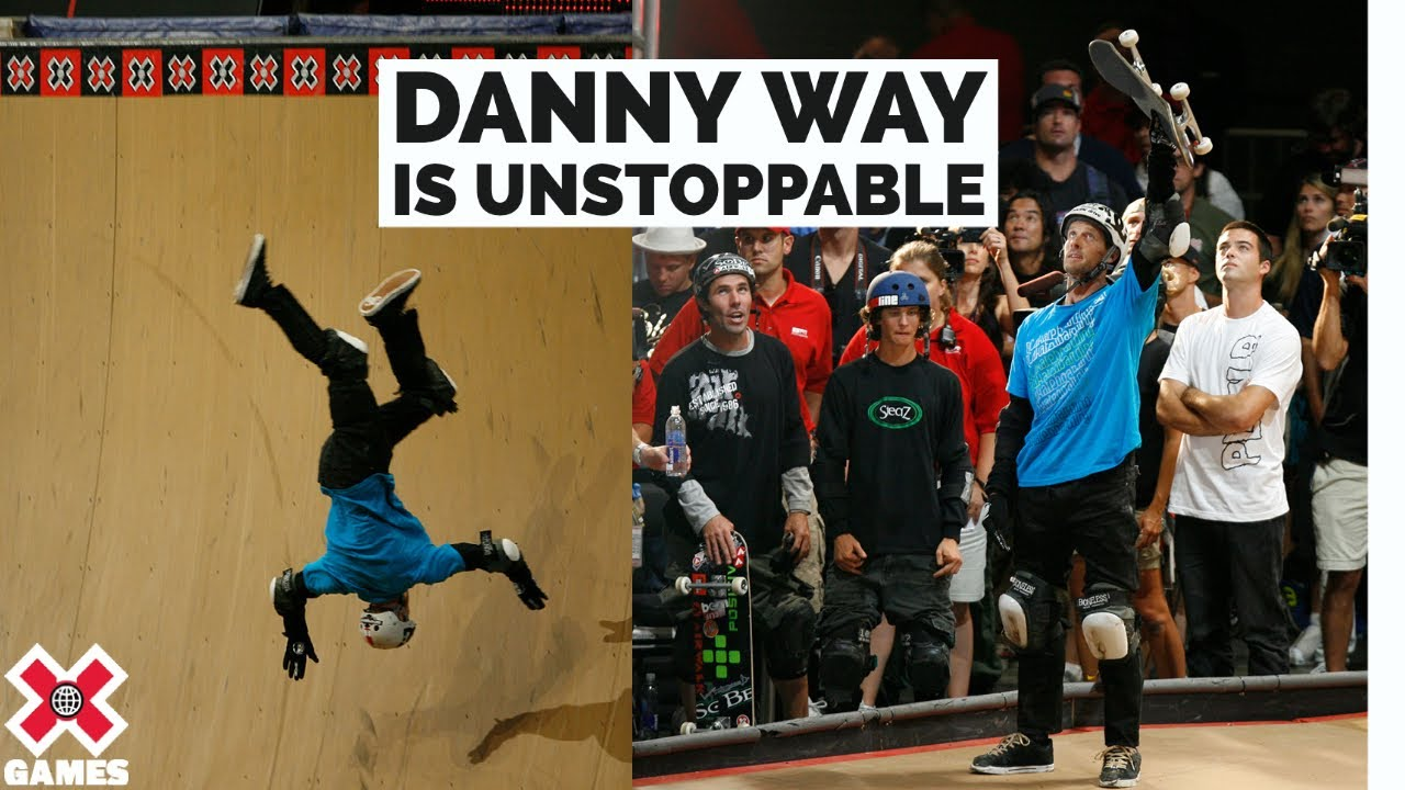 Danny Way Takes Some Nasty Falls But Finishes Every Run in Skateboard Big Air - X Games 14
