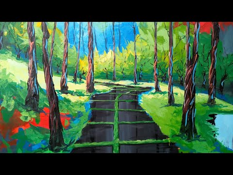 Painting landscape with acrylic