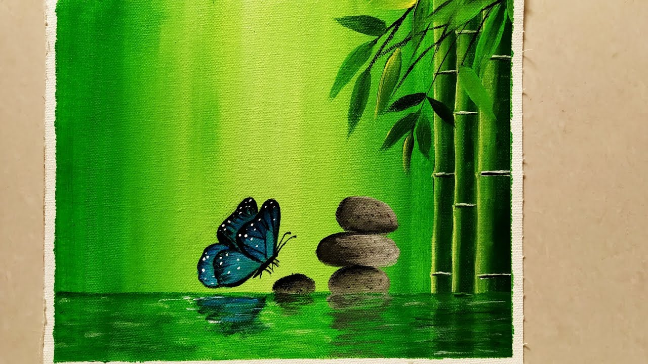 Step By Step Acrylic Painting On Canvas For Beginners Nature Scenery Painting Go Green Painting Youtube