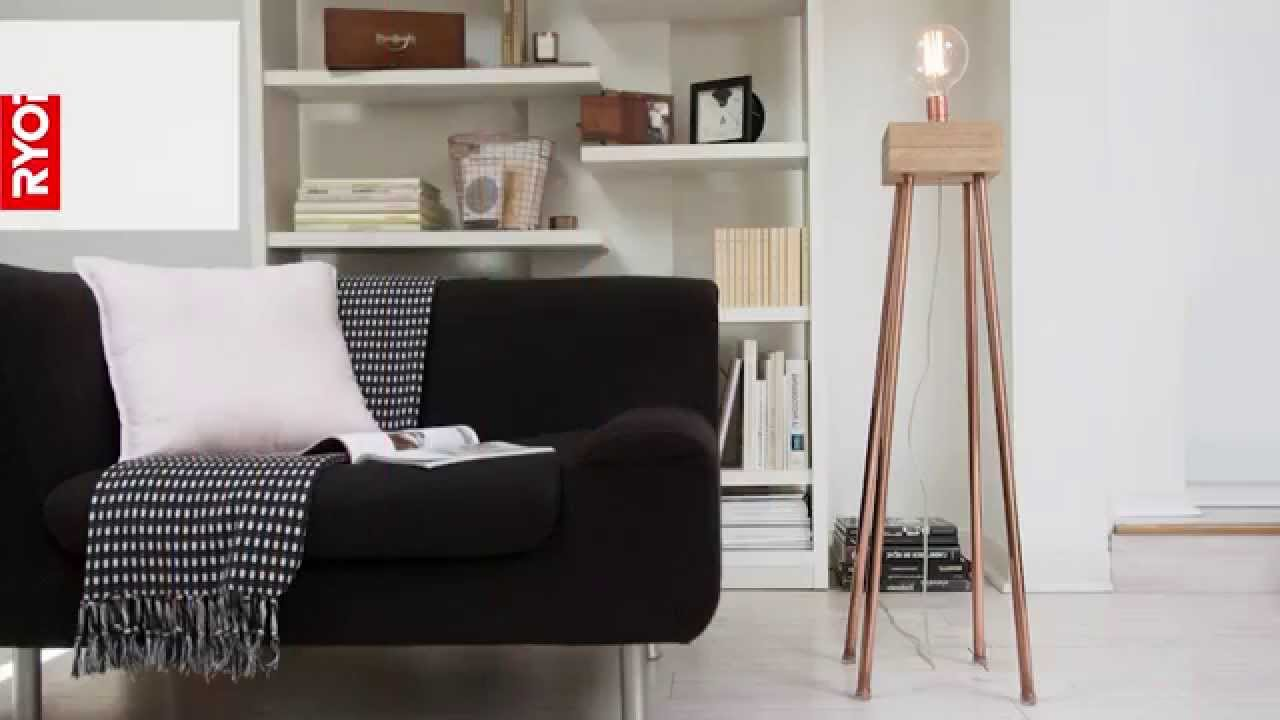 fabriquer un lampadaire en bois youtube. Black Bedroom Furniture Sets. Home Design Ideas