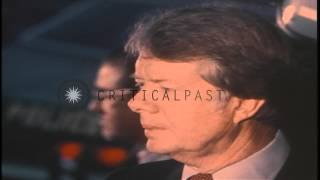 US President-Elect Jimmy Carter speaks into a microphone at the Pentagon in Virgi...HD Stock Footage