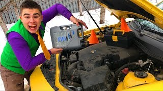 Mr. Joe added Oil to Engine & repaired Chevrolet Camaro in Car Service w/ Started Cool Race for Kids