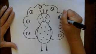 How To Draw A Cartoon Peacock Simple Step-by-Step Tutorial