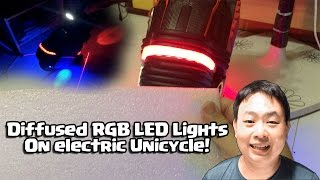 Tron RGB LED Lights with Diffuser padding on electric unicycle