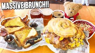 Massive Brunch Food Challenge w/ Cinnamon Roll Breakfast Sandwich!!