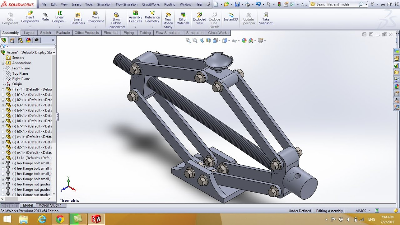 advanced assembly and design of car jack in solidworks