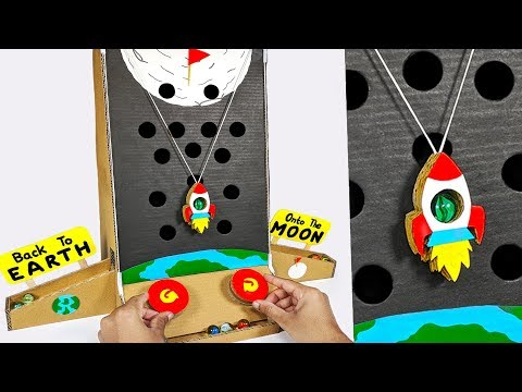 How to make MARBLE to MOON arcade Board Game from Cardboard DIY at HOME for KIDS
