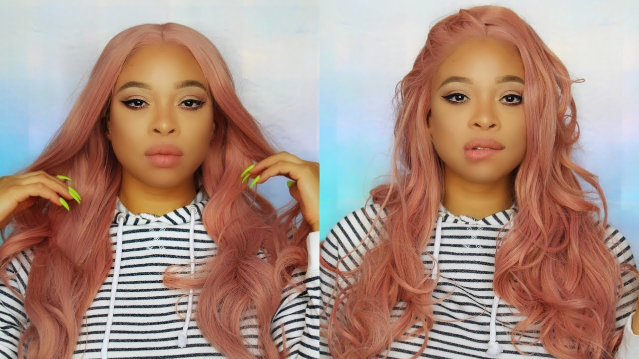 Iws 9 Lib Amazon Rose Gold Pastel Pink Swiss Lace Wig 39 Try