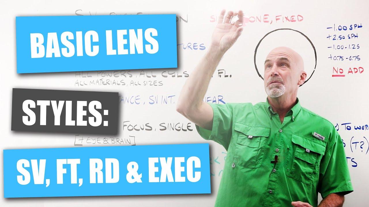 Basic Lens Styles: Single Vision, Flat Top, Bifocal, Trifocal, Round Seg, and Executive