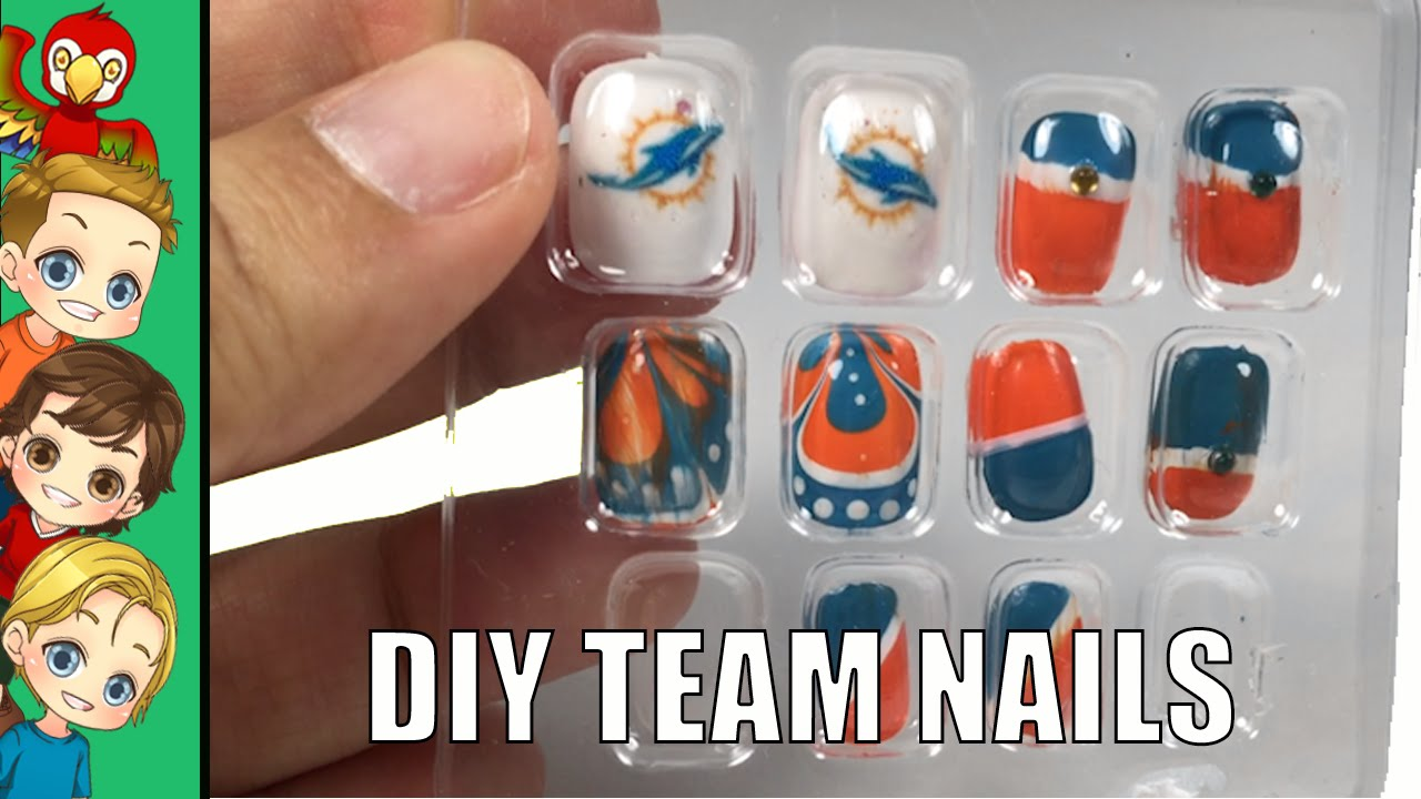 Dyi Nfl Team Sports Nails Miami Dolphins Nail Art Youtube
