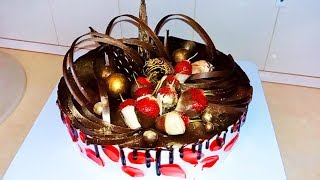 Универсальный фруктово-шоколадный ТОРТ. Как ЭФФЕКТНО и легко украсить  (Без мастики) / Easy cake